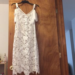 White lace see through dress